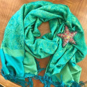 Pashmina Green and Blue
